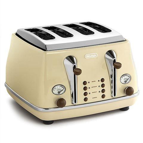 DeLonghi - Icona Vintage Dolce Vita Cream Four Slice Toaster