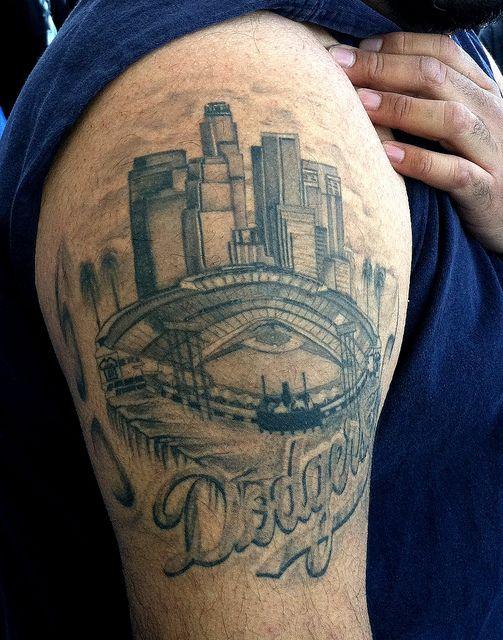 Dodger stadium tattoo that 39 s die hard la dodgers for Hard ink tattoo