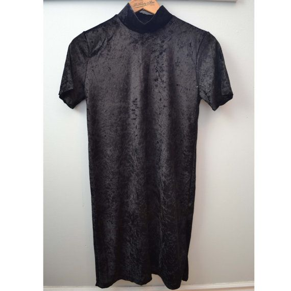 Late 80's Vintage Black Crushed Velvet T-Shirt by raggedwillow