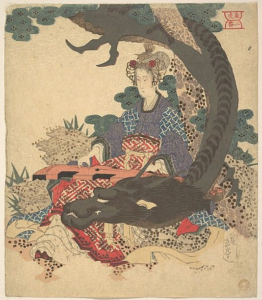 Benzaiten ni Ryu  Yashima Gakutei  (Japanese, 1786?–1868)  Period: Edo period (1615–1868) Culture: Japan Medium: Polychrome woodblock print (surimono); ink and color on paper