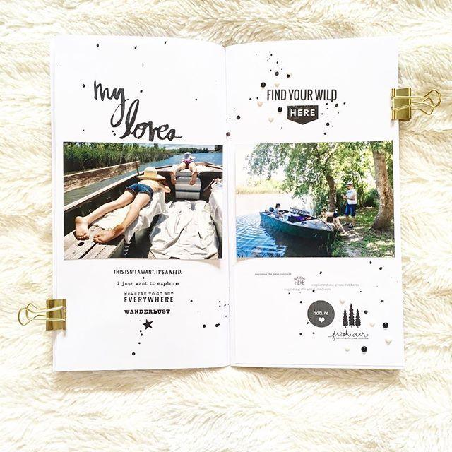 One fav page in my latest #travelersnotebook - on day in our life - video is in my prew post   #diytravelersnotebook #diy #white #midori #midoritravelsnotebook #heidiswapp #kerribradfordstudio #paisleepress