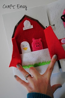 felt quiet book use the ikea animal finger puppets for animals. Could also make a chicken coup with chickens and eggs.
