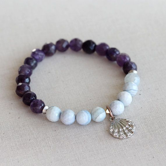 Purple Amethyst, Agate, White Silver Shell Charm, Beaded Bracelet, Gemstone Bracelet, Stretch, Stone, Beadwork Bracelet, Beach Bracelet