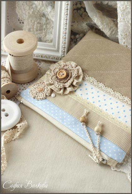 "Bolsas artesanais.  Mestres Fair - handmade.  Compre Esteticista ""Nezabudki.""  Handmade.  Macio azul, leite, rendas"