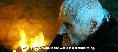 """This Heavy-Handed Maester Aemon Scene. Before Maester Aemon's heartbreaking death, the old man talks about his heir, Daenerys (Aemon reveals he's a Targaryen in season one), in the episode """"Kill the Boy."""" He remarks, """"a Targaryen alone in the world is a terrible thing,"""" . . . and then the camera goes to Jon Snow. Hmmm."""