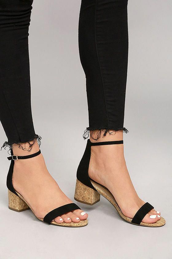 7eb80e8823c8 Cute and casual, the June Black Cork Ankle Strap Heels are hard to beat! Black  vegan suede shapes a single toe strap and adjustable ankle strap (with gold  ...
