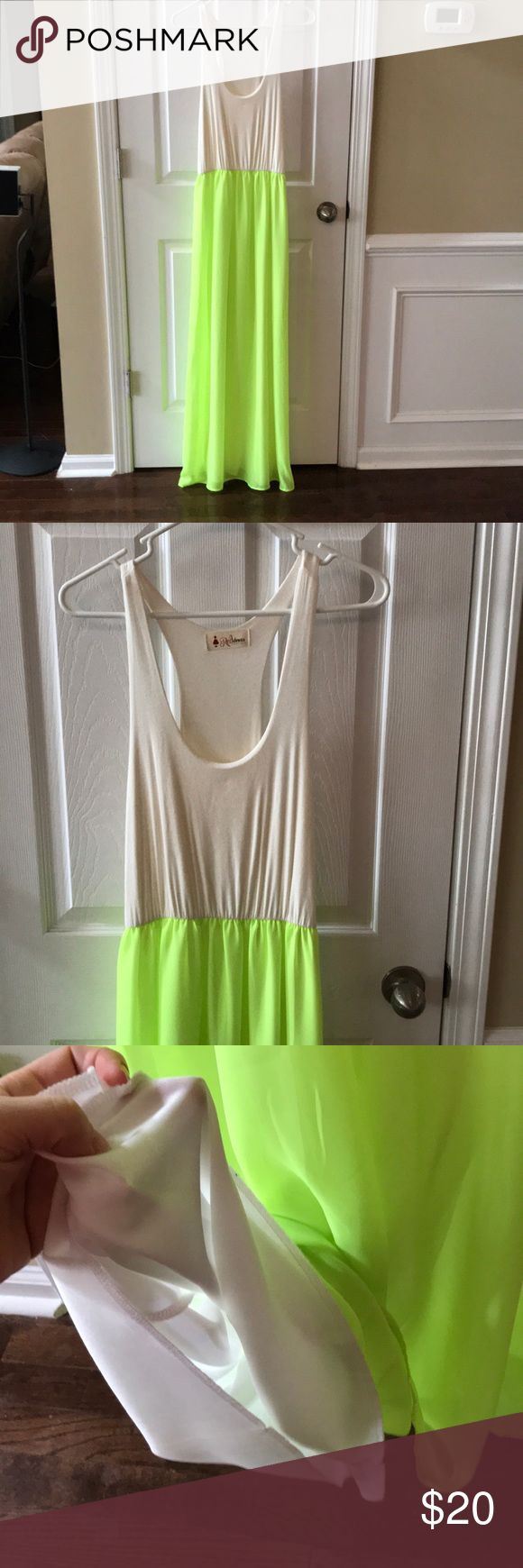 """Women's Maxi Dress Brand new! Never worn. Red Dress Boutique. Highlighter yellow with slip underneath. Cream tank. 59"""" Long from top to bottom. Spring staple! Red Dress Boutique Dresses Maxi"""