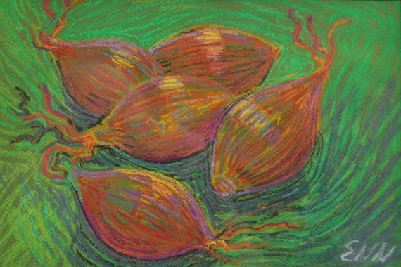 original painting / oil pastel / brown onions / by NielsenDenmark