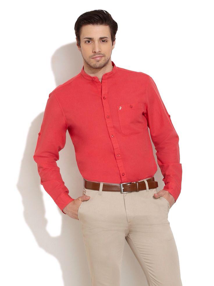 camisa roja cuello mao