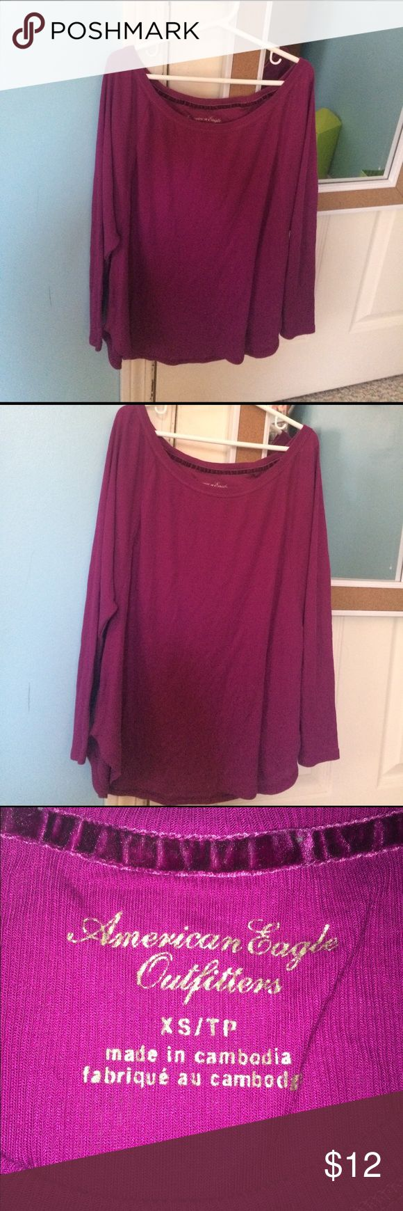 AMERICAN EAGLE slouch fit fuchsia top fuchsia color slouchy top with 3/4 length sleeves by american eagle- perfect to wear over leggings! American Eagle Outfitters Tops Tees - Long Sleeve