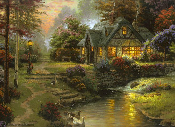 Скачать обои Томас Кинкейд, живопись, лето, речка бесплатно для рабочего стола в разрешении 3510x2550 — картинка №345366