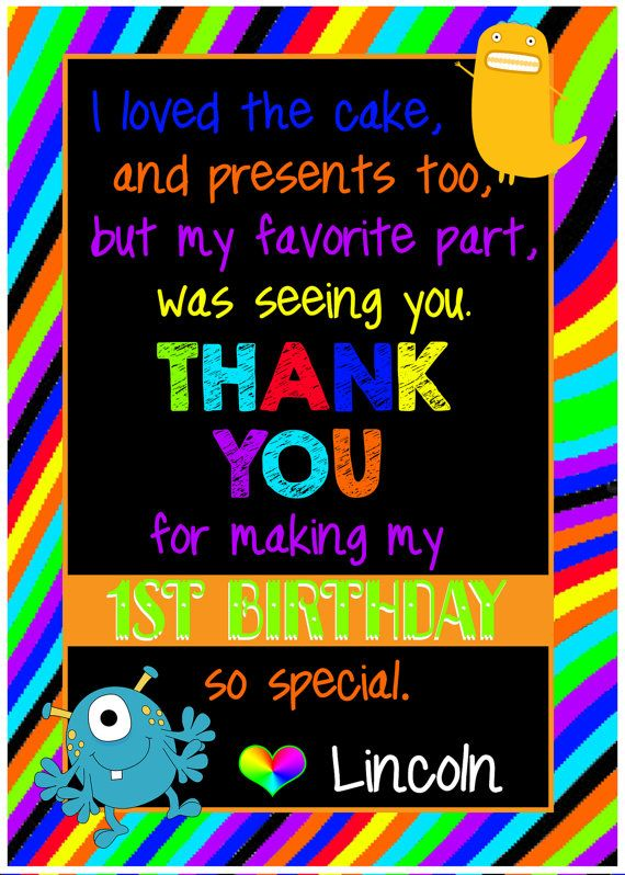 Monster First Birthday Thank You Note by huxleyphotodesigns