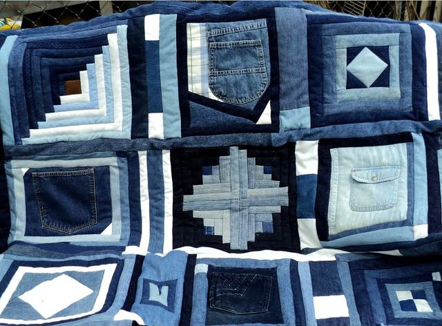 Recycled blue jean quilt. WOW. Could do a blue jean crazy quilt, just zig zag the edges of each piece