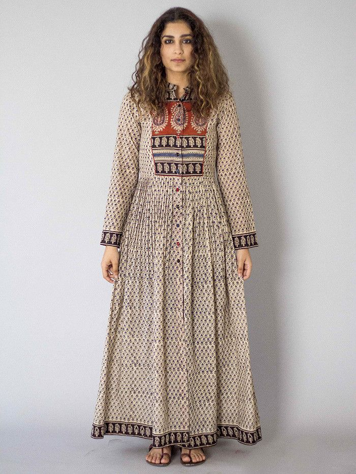 "Description: It is a cotton block printed pleated dress with front button down.. Length is 54"" Size Chart  - XS - Chest : 32.5, Waist : 26, Hip : 35, Shoulder :"