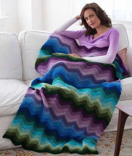 Radiating Ripple Throw Free Crochet Pattern in Red Heart Yarns