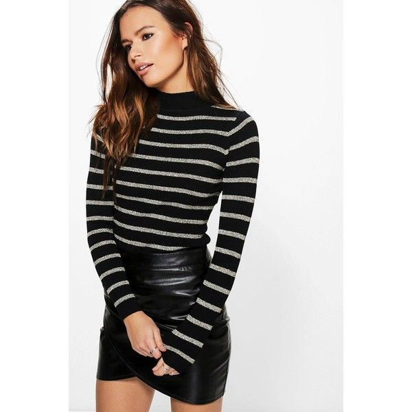 Boohoo Keira Striped Turtle Neck Jumper ($6) ❤ liked on Polyvore featuring tops, sweaters, knit turtleneck sweater, animal print sweaters, turtleneck sweater, party jumpers and marled sweaters