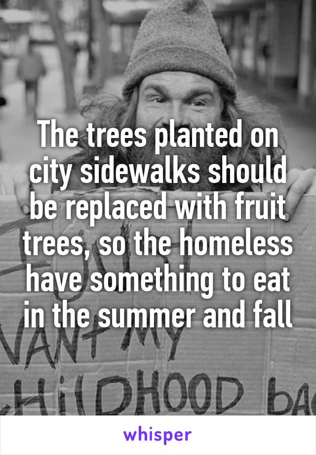 The trees planted on city sidewalks should be replaced with fruit trees, so the homeless have something to eat in the summer and fall