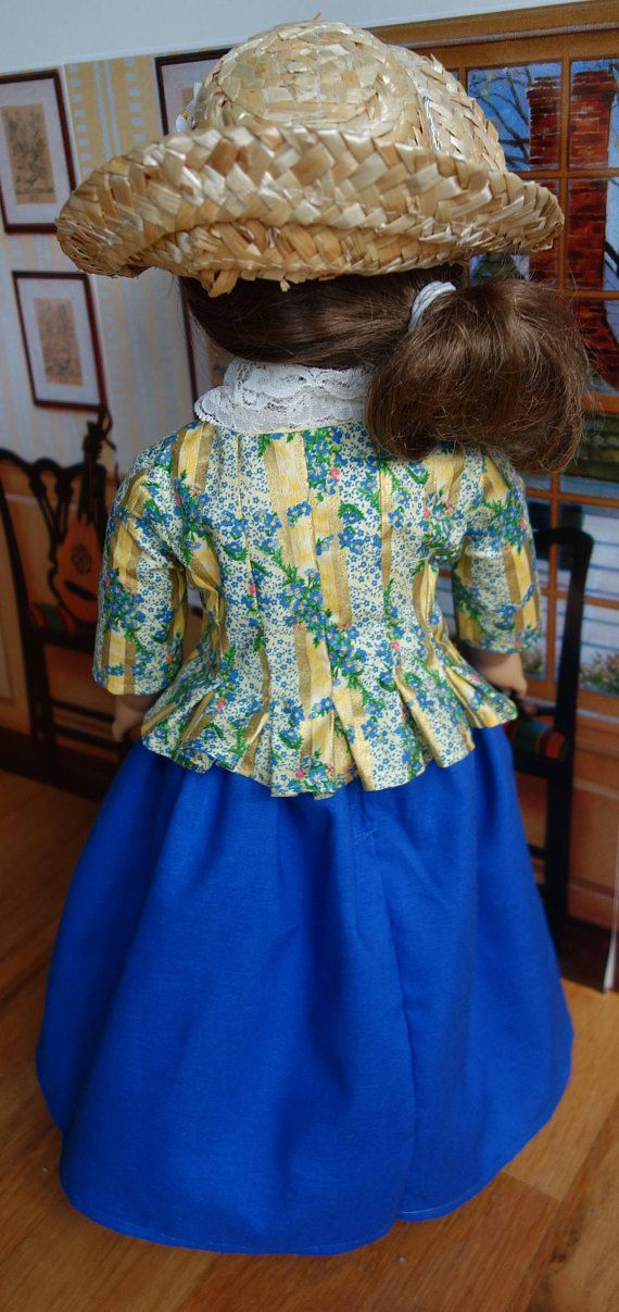 """Homemade American Girl 18"""" inch doll clothes for Felicity - Historical 1700s Colonial Pierrot / Caraco Jacket Dress and Bergere Straw Hat.  Carpatina pattern."""