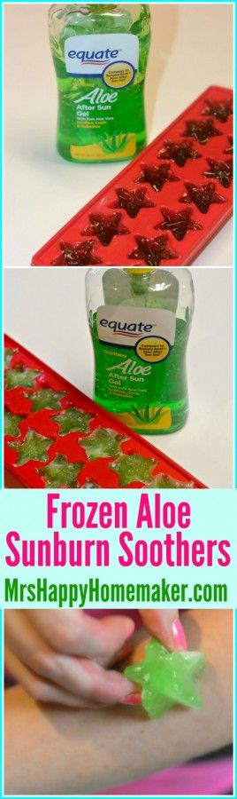 Got sunburn? Want relief? Don't look any further then these super easy frozen Aloe Vera Sunburn Soothers. They're instant relief! | MrsHappyHomemaker.com