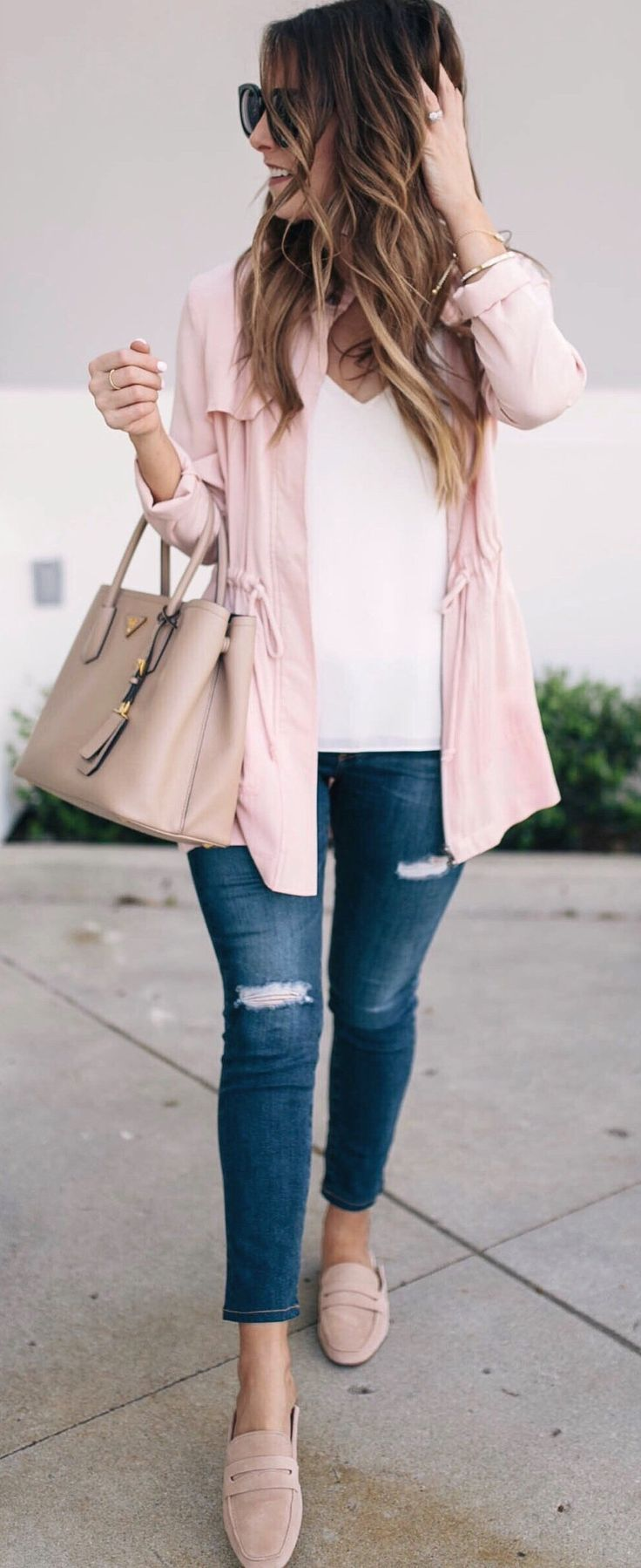 #spring #outfits Happy Saturday!  This Blush Utility Jacket Is One Of My Favorite Items In My Closet For Spring And It's Under $100!