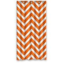 Chevron Rideau de douche - Orange White Zigzag Pattern Stripes - Custom Fashion Personalized Bathroom Curtains Waterproof Polyester Fabric 36(w)x72(h) Rings Included