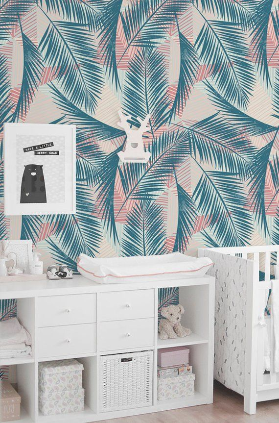 Tropic Palm Leaf Removable Wallpaper Traditional Pastel Print