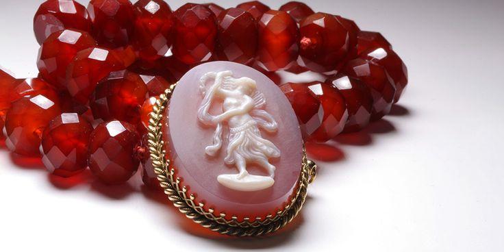 Carnelian Hardstone Cameo strung onto Carnelian Beads, created by La Vogue Vintage