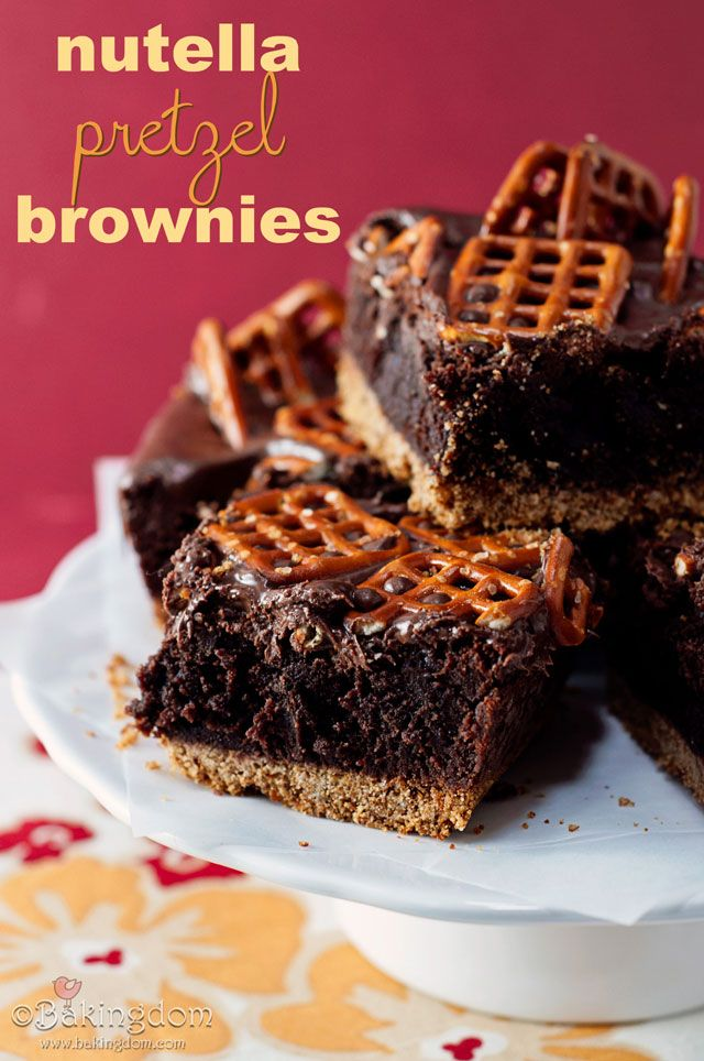 Nutella pretzel brownies. Yes, I repin pretty much every Nutella recipe.