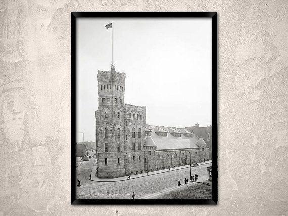 Boston city, 1904.Cadet Armory, Boston MA.Historical photo -  Boston wall art decor, large format print, Old Boston photo.