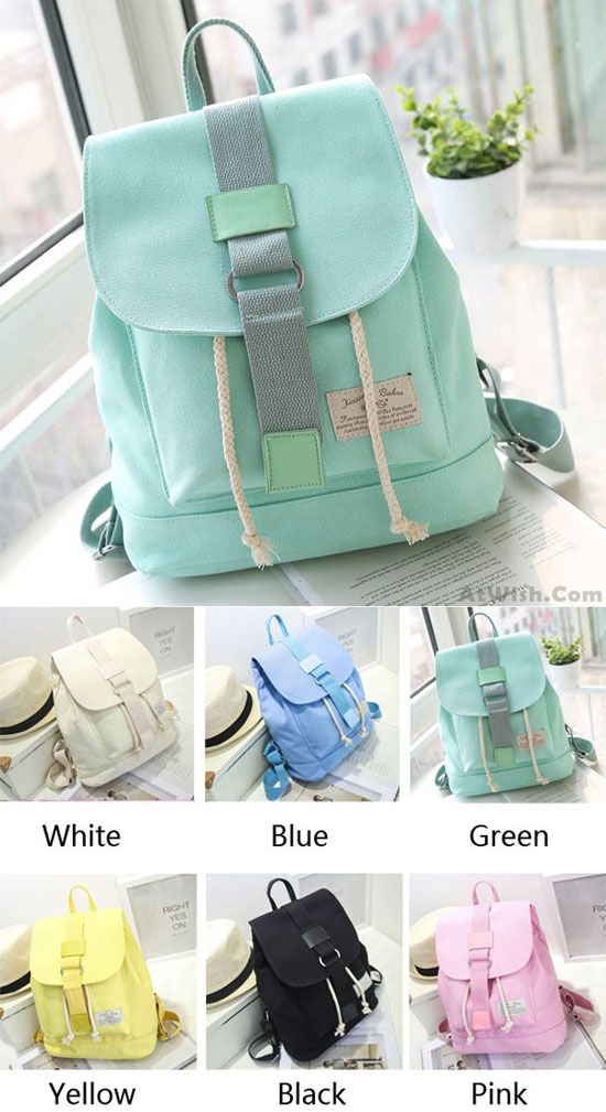 Which color do you like? Sweet Student Buckle Solid Schoolbag Lovely Mint Green Canvas Backpack #backpack #green #canvas #lovely #school #college #Bag #student