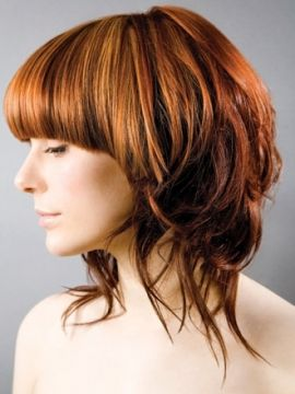love the heavy strong structured bang with the piecey wavy tendrils. nice lowlights too.