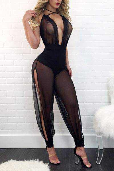 Sexy Sleeveless See-Through Black Gauze One-piece Skinny Jumpsuits_Jumpsuits_LovelyWholesale | Wholesale Shoes,Wholesale Clothing, Cheap Clothes,Cheap Shoes Online. - LovelyWholesale.com