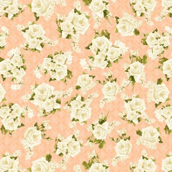 ** Secret Garden - Roses Allover Peachy Pink/White-Secret, Garden, Wilmington, Fabric