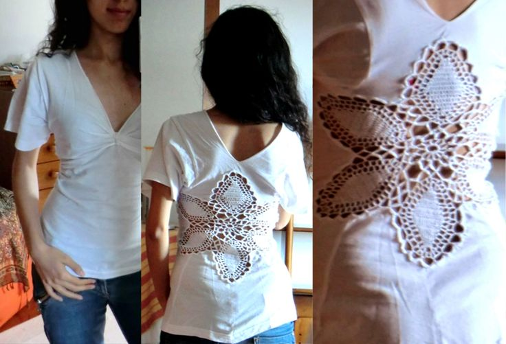 Old XXL t-shirt turned into a cool t-shirt with lace on the back