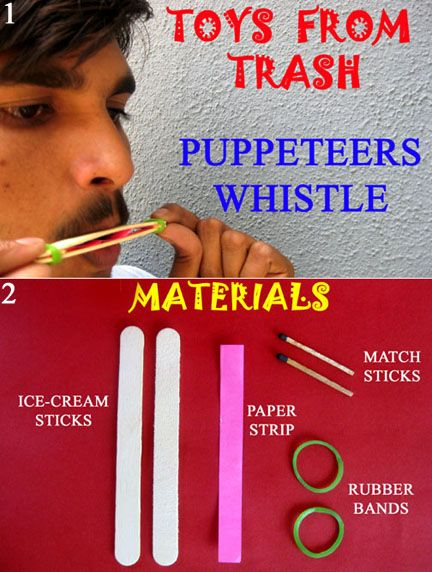 Site features how to turn trash into educational and annoying toys for children.