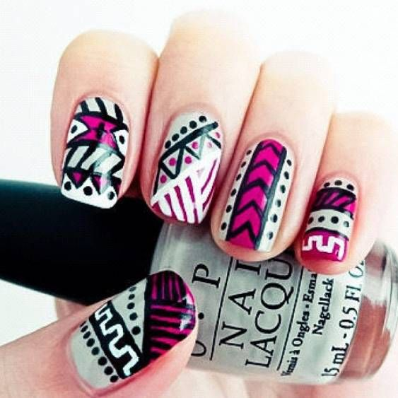 OMG In LOVE with this.: Nails Art, Nailart, Cute Nails, Nails Design, Nailsart, Tribal Nails, Nails Polish, Tribal Prints, Aztec Nails