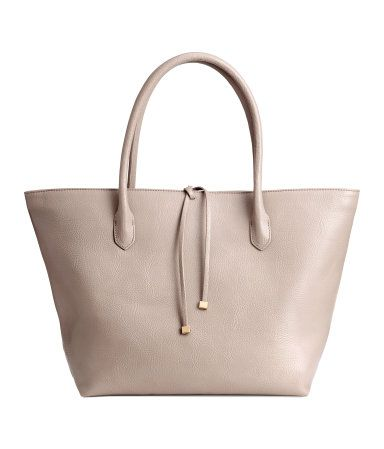 Handbag in grained imitation leather with double handles, zip and tie at top, and three inner compartments, one with zip. Lined. Light taupe. | H&M Accessories