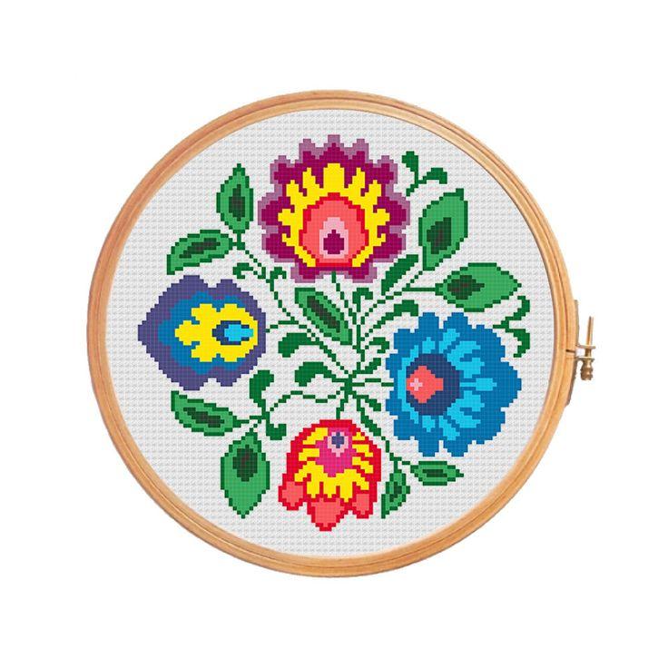 Four polish flowers folk art - cross stitch pattern - polish wycinanki modern cross stitch pattern flowers traditional water soluble canvas (3.99 USD) by PatternsCrossStitch