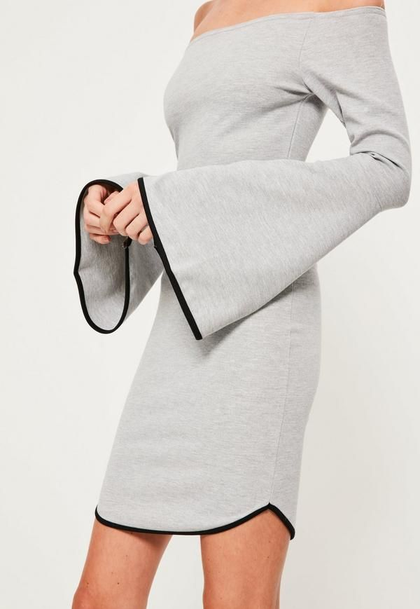 Bardot styles are not just a trend anymore, they're a way of life - amp up your day game wearing this grey dress, featuring a curved hem, bardot top and mini length.