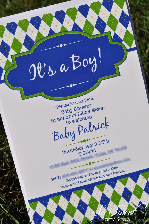 10 Argyle Invitations - Birthday or Baby Shower Invitations - Boys Birthday Decorations - Argyle Golf Theme