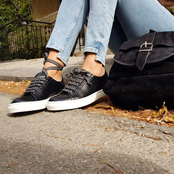 Feel the street style! Fashion leather sneakers... feel the love by Rena Xenou