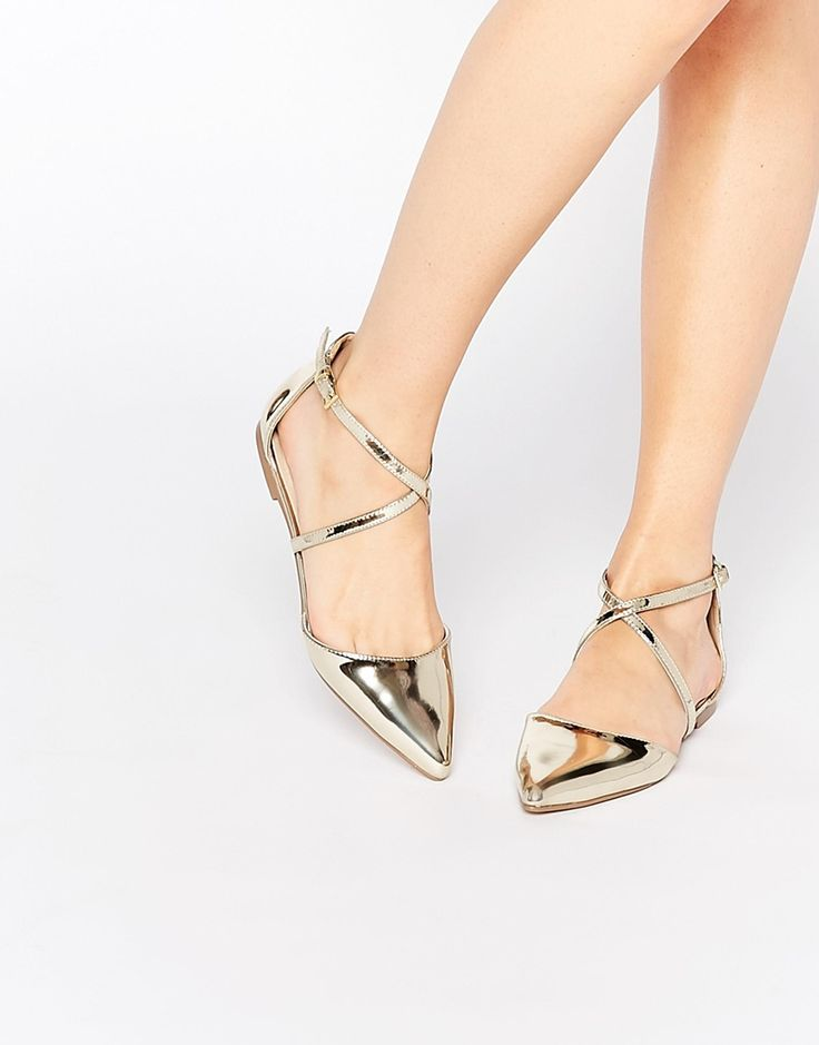 Pointed Metallic Ballet Flats