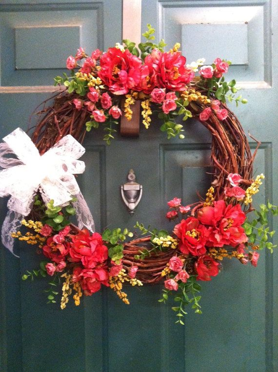 Pink Peony Wreath by HighCottonFlorals on Etsy, $75.00