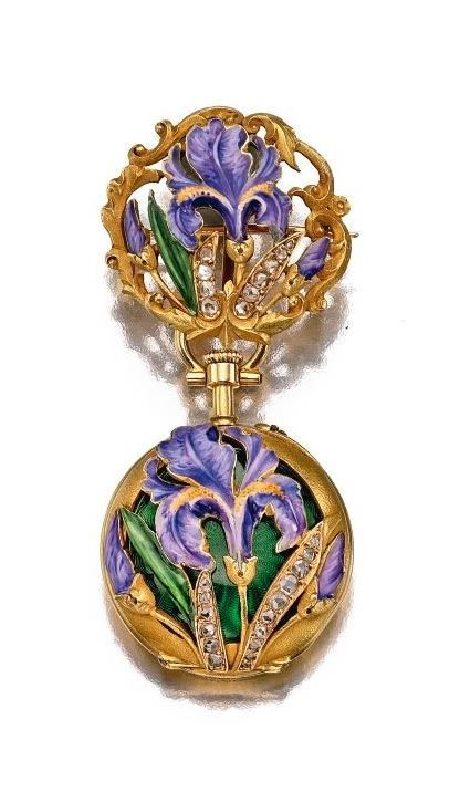 YELLOW GOLD AND ENAMEL PENDANT WATCH WITH FLORAL MOTIF - CIRCA 1910. | Sotheby's