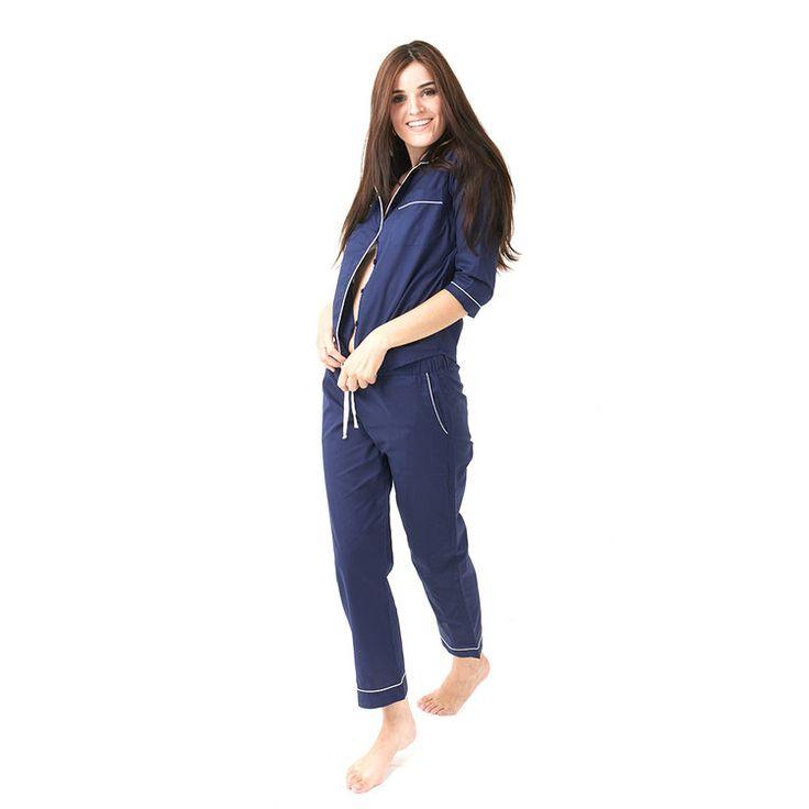 Classic Navy Blue Long Pajama Set - $50