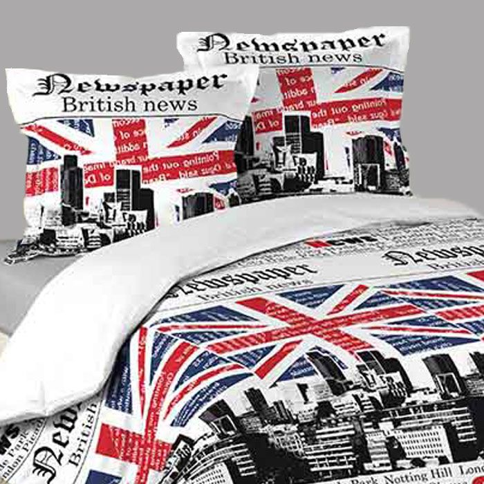 housse de couette london union jack 2 taies d oreillers. Black Bedroom Furniture Sets. Home Design Ideas