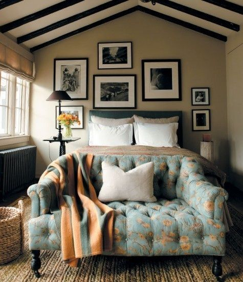 love this floral sofa and the mix of coral and blue.