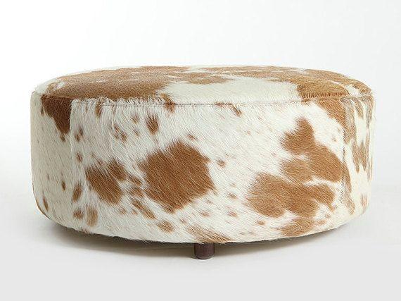 round ottoman traditional beige u0026 white cowhide round ottoman