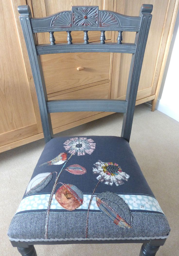 Robin and flowers embroidered on a dark grey background. Hand painted Chair.