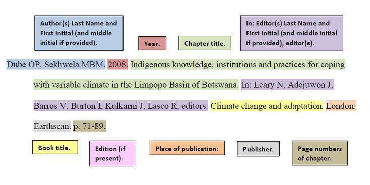 Cite chapter in book scientific style cse citation